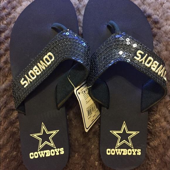 2da16be226978 Dallas Cowboys Sequin Flip Flops Sandals NWT 5-6