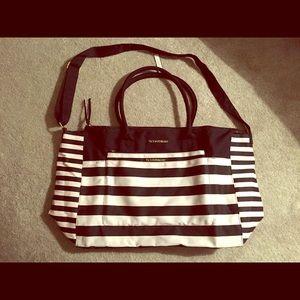 Victoria's Secret black and white striped tote bag