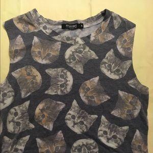 ROMWE Tops - Romwe Cute sleeveless cat shirt