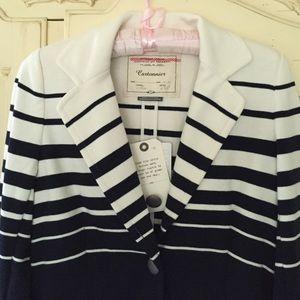 ANTHROPOLOGIE Cartonnier Navy Stripe Jacket Blazer