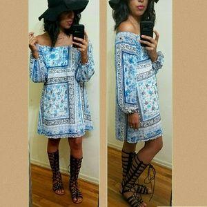 BLUE FLORAL OFF SHOULDER  DRESS