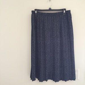 Carroll Reed Dresses & Skirts - Vintage Navy White Polka Dot Pleated Midi Skirt