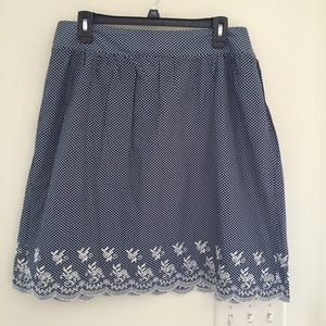 Dress Barn Dresses & Skirts - Dressbarn Navy White Polka Dot Scalloped Skirt