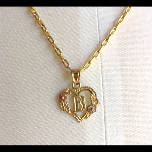 Beverly Hills Gold Jewelry 14k B Initial Heart Necklace Poshmark
