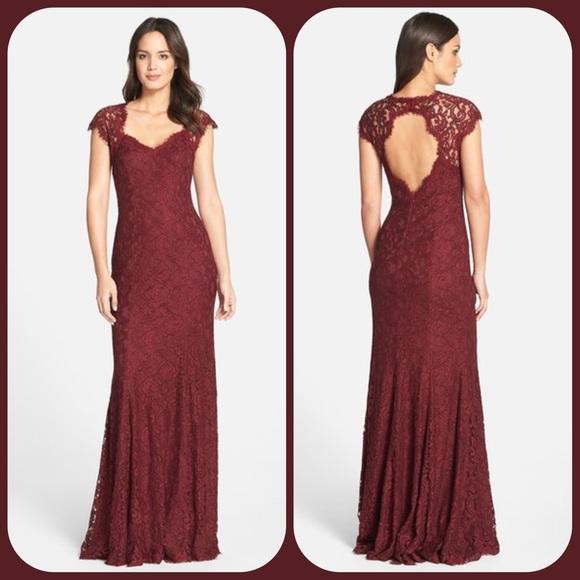 Tadashi Shoji Dresses | Nwot Corded Lace Gown In Auburn | Poshmark