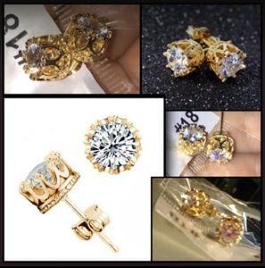 Almei Jewelry - Brand 🆕 18k Gold Plated Almei Crown Earrings!