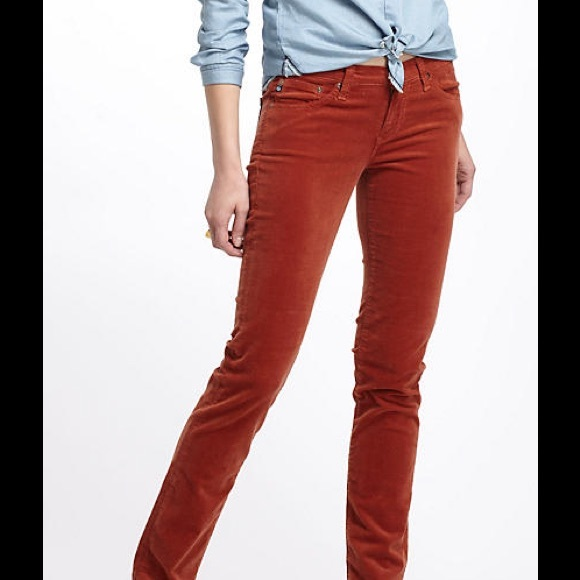8f162434 AG Adriano Goldschmied Pants - Stevie Slim Straight Pants Burnt Orange  Corduroy