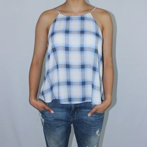 Tops - Plaid silky top