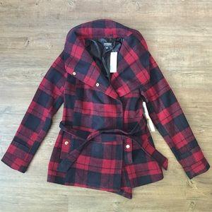 NWT Plaid Peplum Jacket, Size M