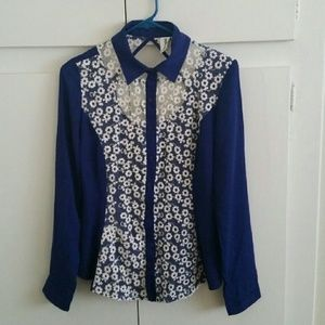 Tops - Blue Embroidered Blouse with Cut-out