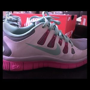Nike Shoes - Nike tennis shoes. White, mint, gray and pink.