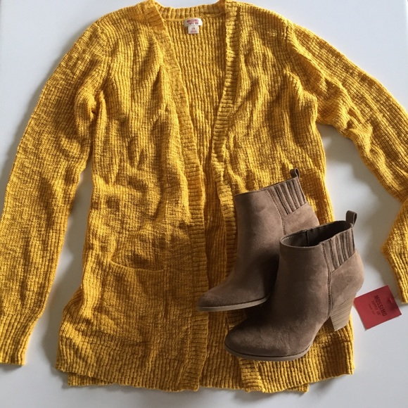 Mossimo Supply Co Sweaters Mustard Yellow Open Knit Cardigan