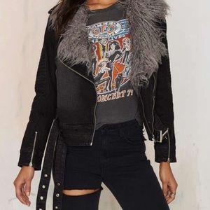 Somedays Lovin Jackets & Blazers - Anita denim faux fur jacket