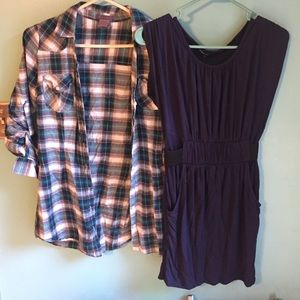 Other - Bundle cute outfit black dress and flannel sz S