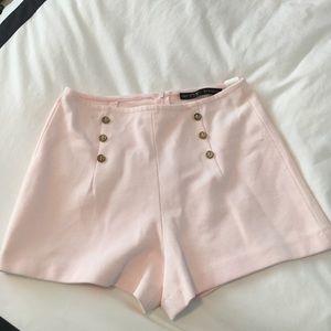 High-waisted pale pink Zara shorts