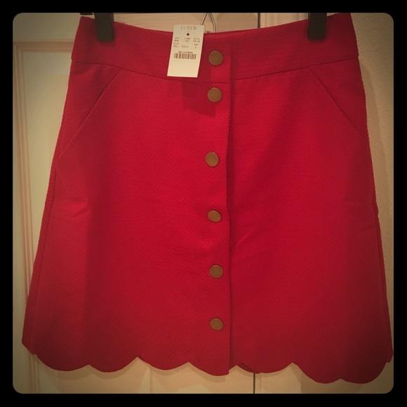 d4cb970f6 J. Crew Skirts | J Crew Red Button Front Mini Skirt Size 2 | Poshmark