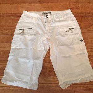 White Capri cargo pants.