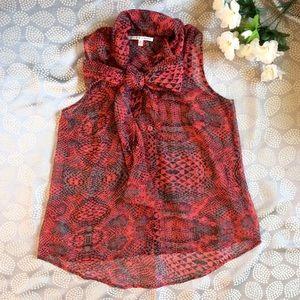 Red Sheer Snakeskin Pattern Blouse