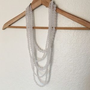 White Beaded Statement Necklace