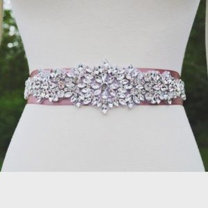 Bridal rhinestone sash belt
