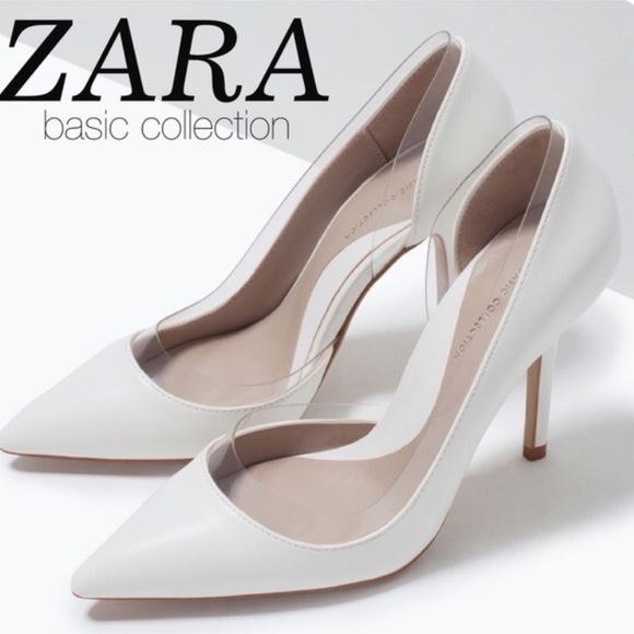 76567d4af78 ZARA White Pointed   Pointy Heels with Clear Vinyl