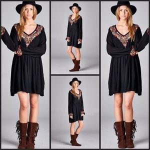 TillieCreekClothingCompany Dresses & Skirts - Boho Black Embroidered Mini Dress
