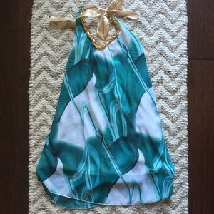 Boutique Teal and White Halter Dress size S