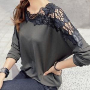 Army Green Black Lace Tunic Top