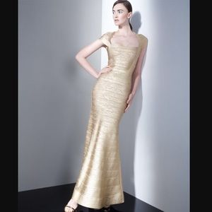 Herve Leger Dresses & Skirts - NWT Herve Leger Lora Gold Gown XS