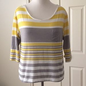 American Eagle Outfitters Tops - American Eagle Yellow & Grey Striped Shirt