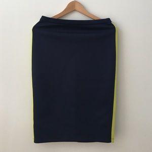 Neon stripe navy skirt
