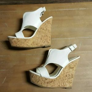 Anne marie Shoes - White wedges.