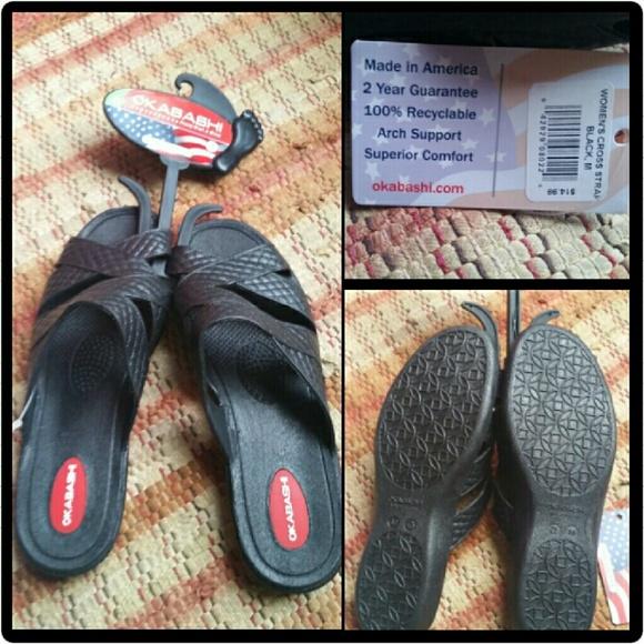 d53c1e7032245f Womens Okabashi Cross Strap Sandals Size 7 8 NEW
