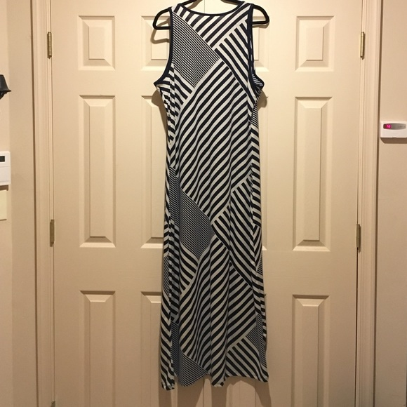 Faded Glory Dresses - Navy Blue and White Stripe Design Maxi Dress