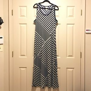 Navy Blue and White Stripe Design Maxi Dress