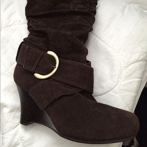 Pierre Dumas Shoes - Brown wedge cinched boots