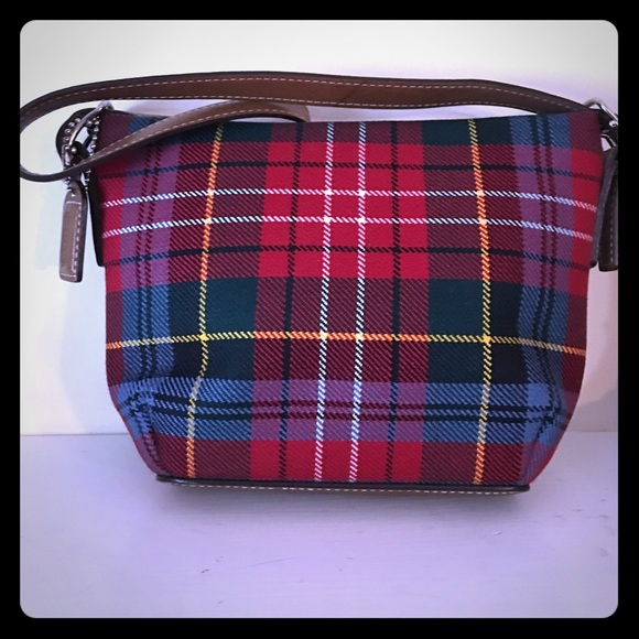 Coach Bags Tartan Plaid Red Blue Wool Purse Poshmark