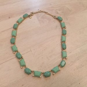JCrew mint green + gold statement necklace