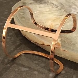 Rose Gold H-Shaped Cut Out Metal Cuff Bracelet