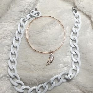 GUESS Rose Gold Angel Winged Bracelet + WhiteChain