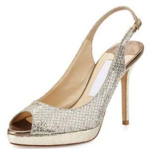 Jimmy Choo Shoes - New Jimmy Choo Nova Glitter Champagne Sling Sz 36
