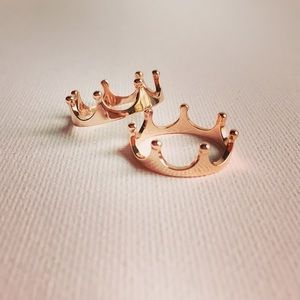 Rose Gold Plated Sterling Silver Crown Ring