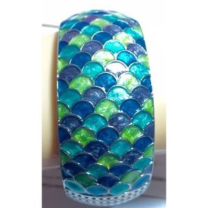 Mermaid scales hinged bangle bracelet