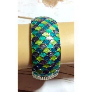 Jewelry - Mermaid scales hinged bangle bracelet