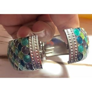 Jewelry - Mermaid scales hinged bangle bracelet