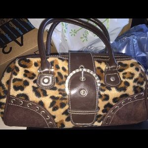 Handbags - Cheetah print furry purse. Small for a night out!