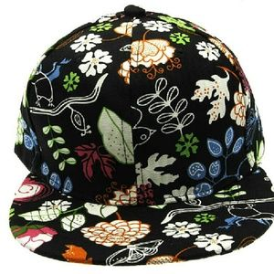 Accessories - Black Floral Printed Snap Back Fitted Cap Hat