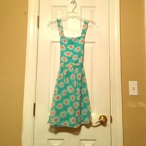 Rue 21 turquoise daisy apron style dress