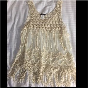 Wet Seal sheer lace top in creme