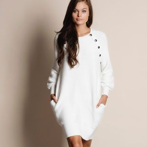 Long Sleeve Faux Button Sweater Dress